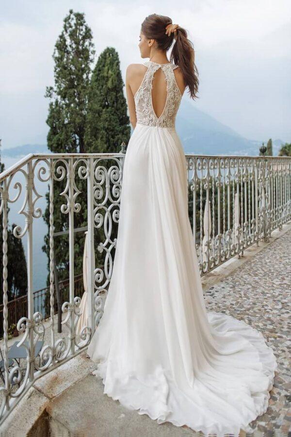 Lágy esésű chiffon menyasszonyi ruha 1