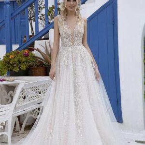 Tört fehér, csillámló tüll menyasszonyi ruha, palásttal 1
