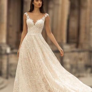Csillámos light karamell A vonalú menyasszonyi ruha 1