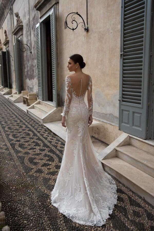 Homok 2 részes, hosszú ujjas sellő menyasszonyi ruha 1