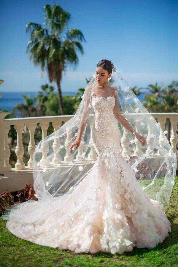 Light púder virágos sellő menyasszonyi ruha 1