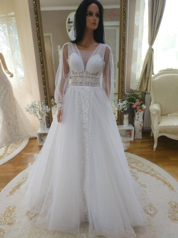 Puffos ujjas, fehér A vonalu tull menyasszonyi ruha 1