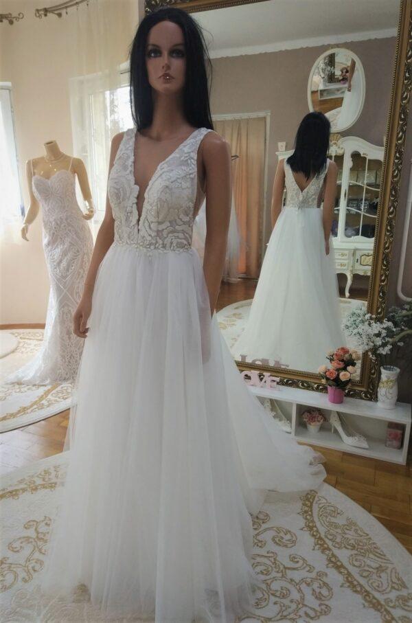Vállpántos, csillámos, tört fehér lágy esésű tüll menyasszonyi ruha 1