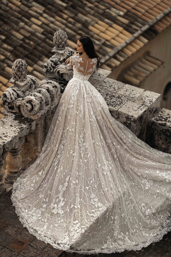 Hosszú ujjas, cappuccino menyasszonyi ruha-1