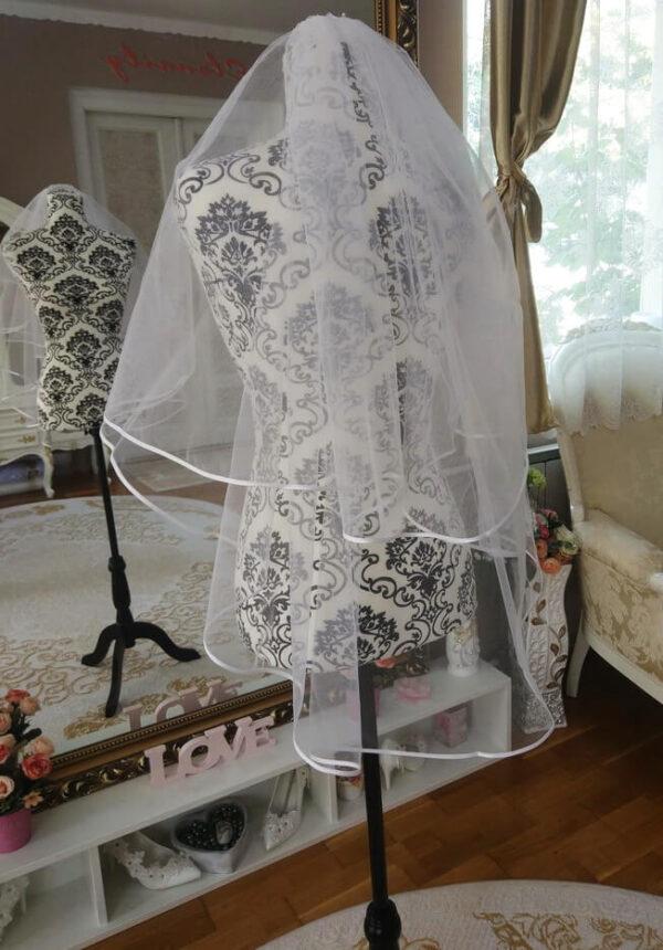 Menyasszonyi fátyol 44a szegett rövid fehér