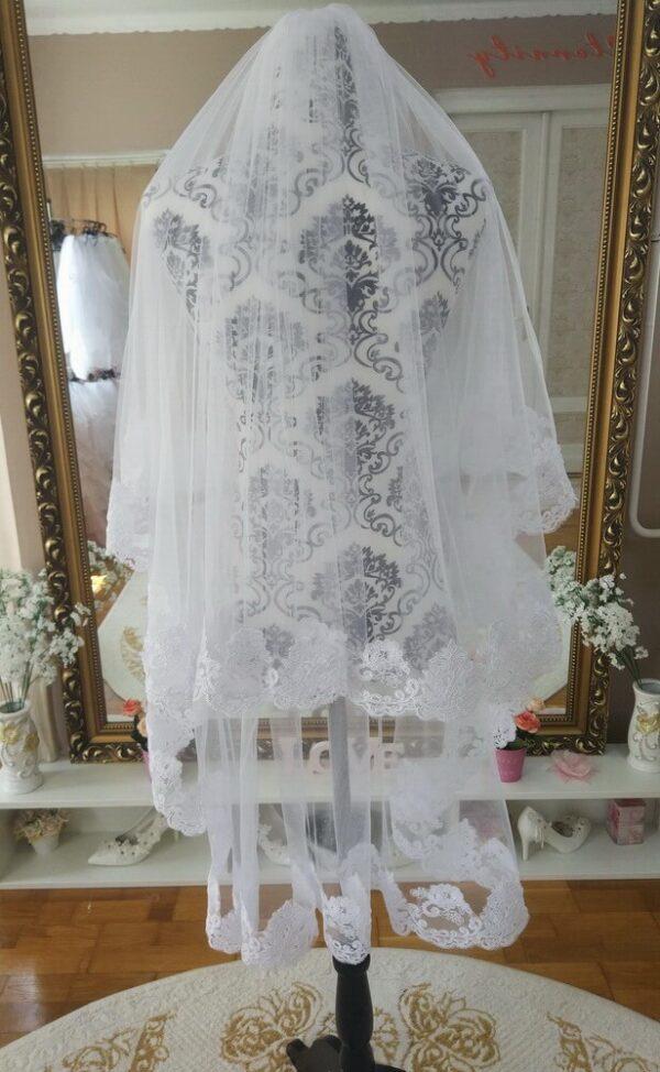 Menyasszonyi fátyol 46a csipkés fehér